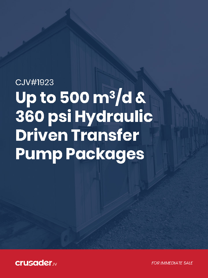 Branded feature sheet - used / surplus water transfer or oil transfer pump packages for sale in Alberta