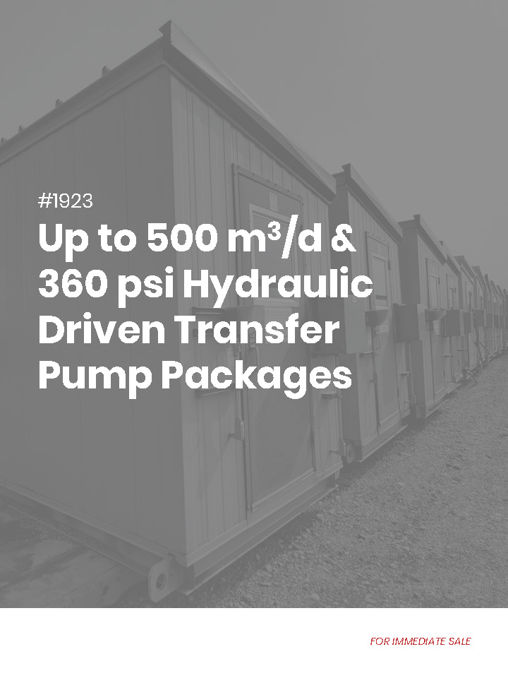 Unbranded feature sheet - used / surplus water transfer or oil transfer pump packages for sale in Alberta