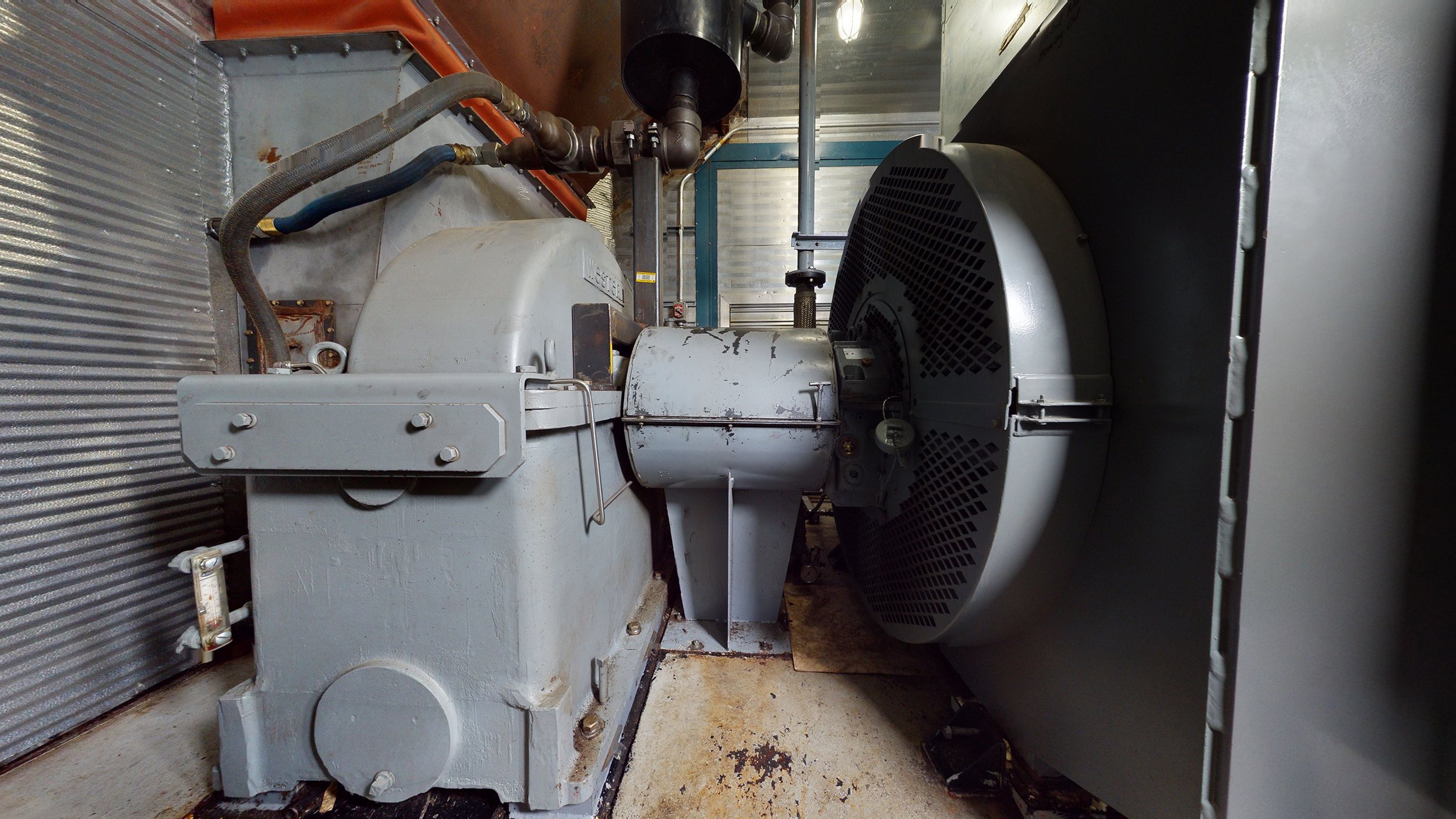 Interior 6 - gearbox & generator end - Used 2500 kW / 2 MW Allison Natural Gas Turbine Generator Package for sale in Alberta