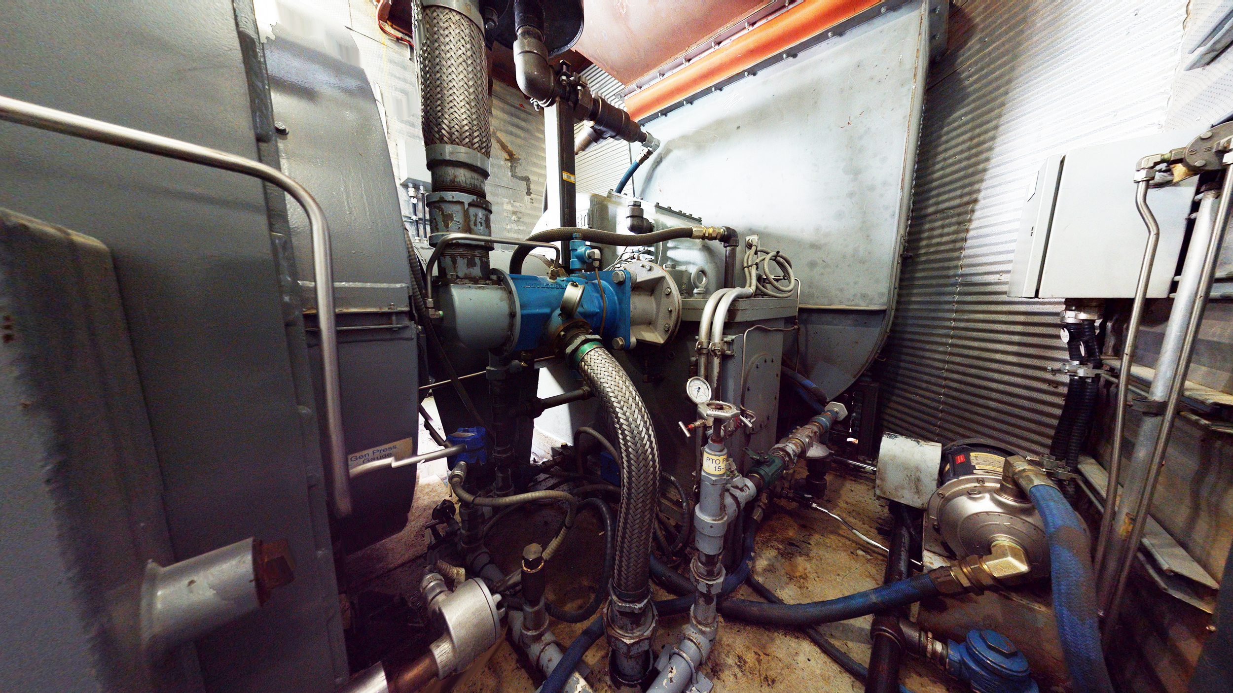 Interior 5 - gearbox & generator end - Used 2500 kW / 2 MW Allison Natural Gas Turbine Generator Package for sale in Alberta