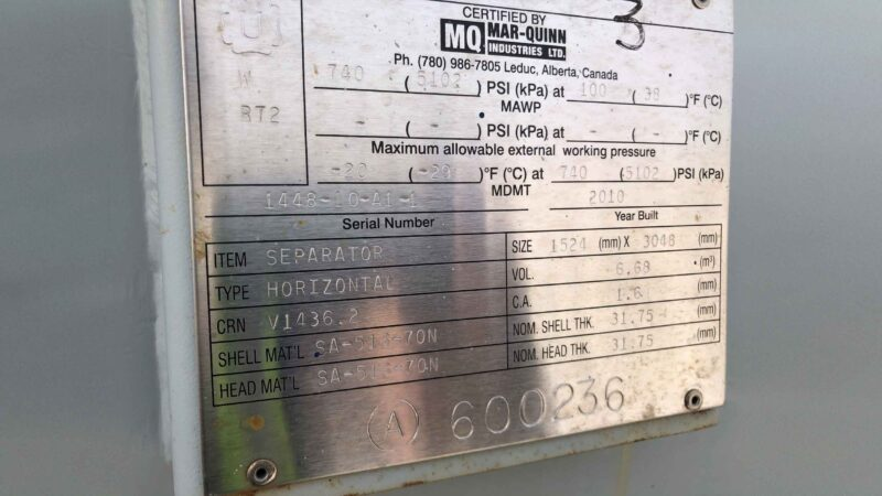 """New never used 60"""" x 10' Sweet 720psi Horizontal 2 Phase Vessel for sale in Alberta - packaging option available - name plate"""