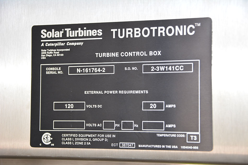 Solar Turbotronic data plate- For sale - Solar Turbines Titan 250 C61 Axial Compressor Package 30000 HP in Calgary Alberta Canada