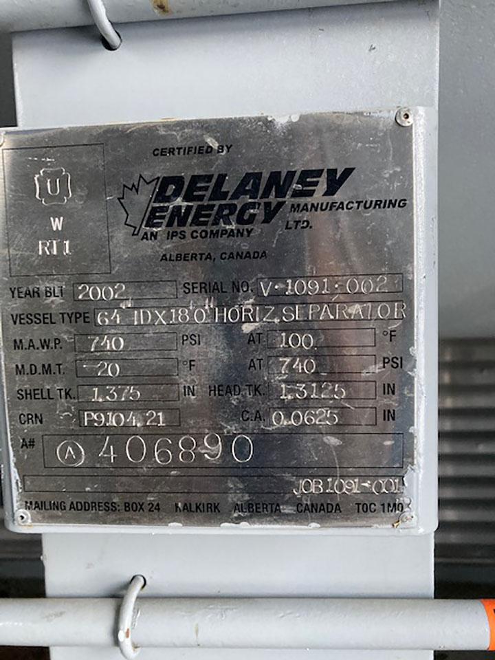 "Data Name Plate – Used 64"" x 18' 720psi Sour Separator Package Surplus for sale in Alberta Saskatchewan British Columbia AB BC SK Canada"