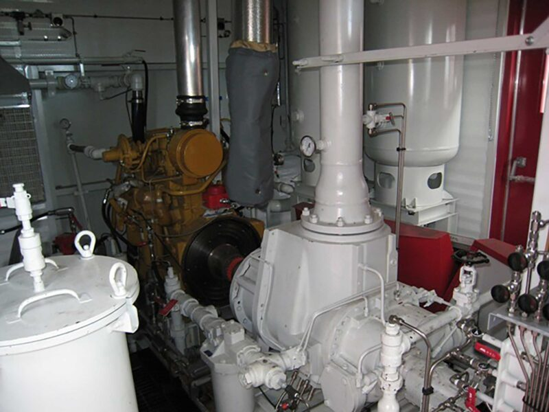 Interior 6 New / Never Used 95HP Caterpillar Vacuum Reciprocating Compressors For Sale in Alberta Canada